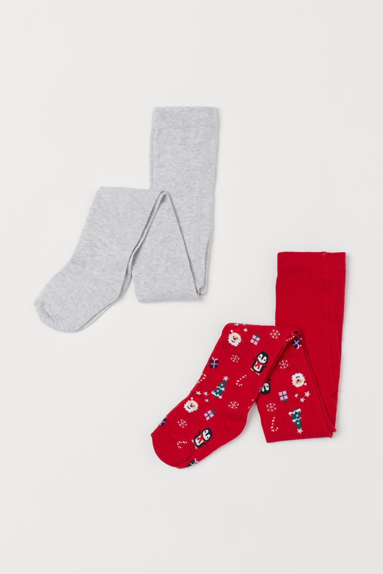2-pack Fine-knit Tights - Red/Christmas design - Kids | H&M US
