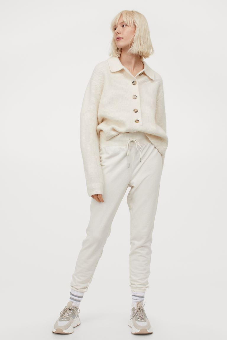 Cotton-blend joggers - Cream - Ladies | H&M