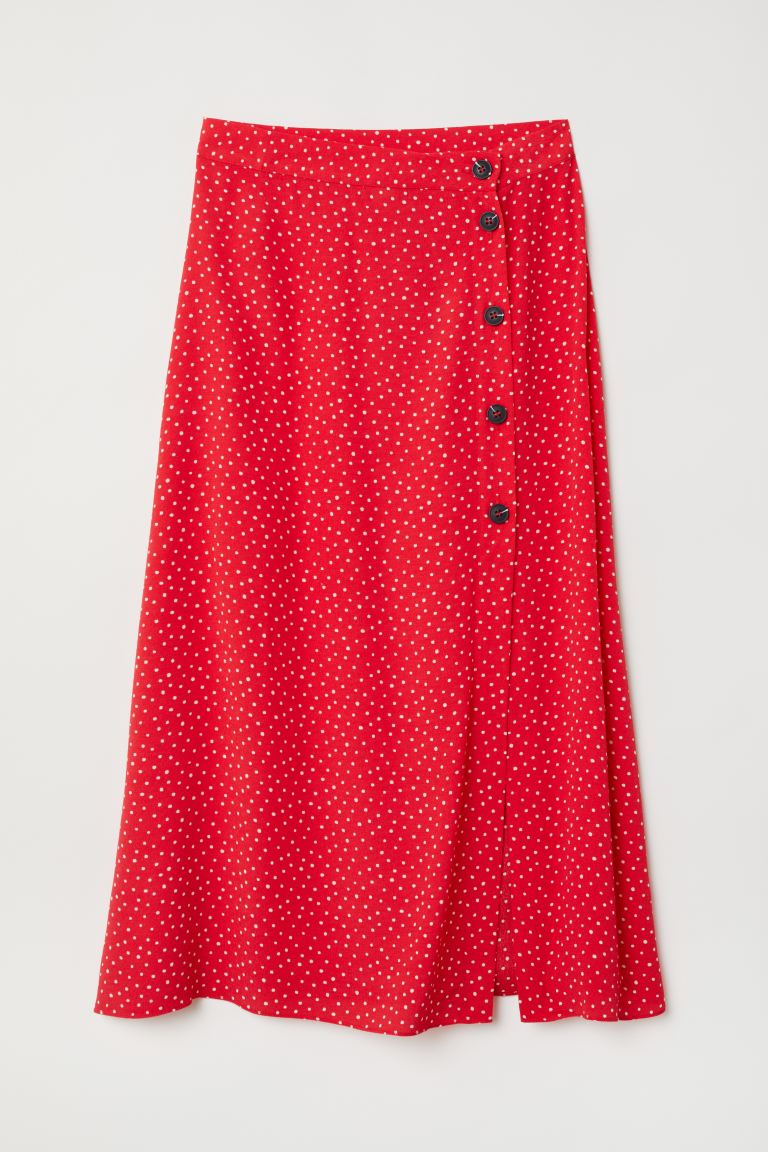 Crêpe skirt - Red/White spotted - Ladies | H&M IE