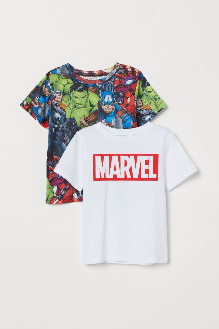 2-pack Printed T-shirts - White/Marvel - Kids | H&M US