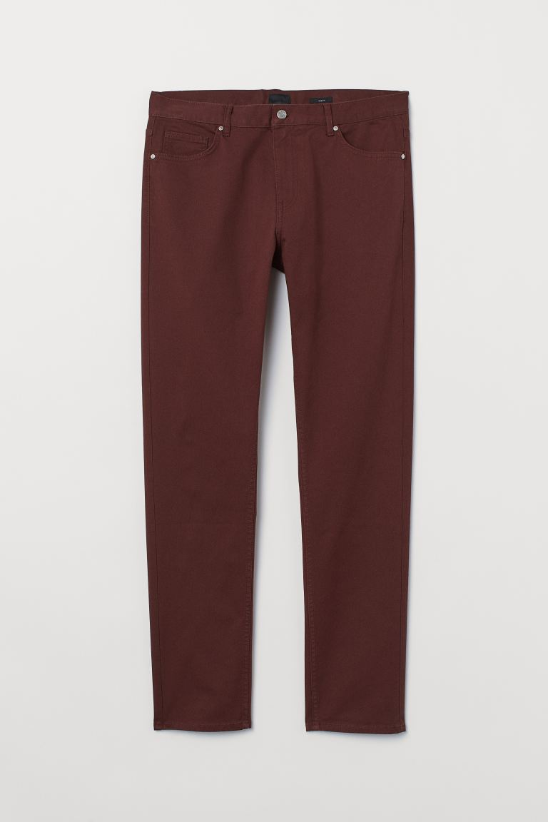 Twill trousers Slim Fit - Dark brown - Men | H&M