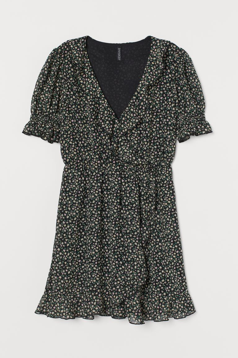 Puff-sleeved flounced dress - Black/Small flowers - Ladies | H&M