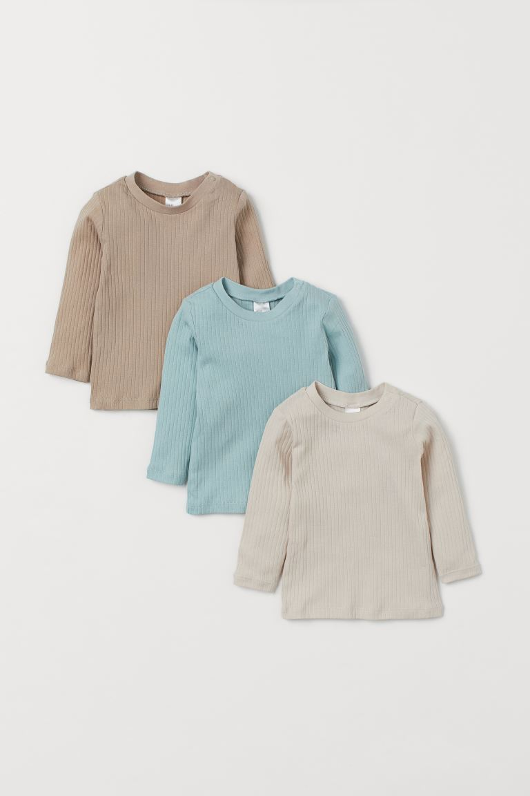 3-pack Ribbed Jersey Tops - Beige/turquoise - Kids | H&M US