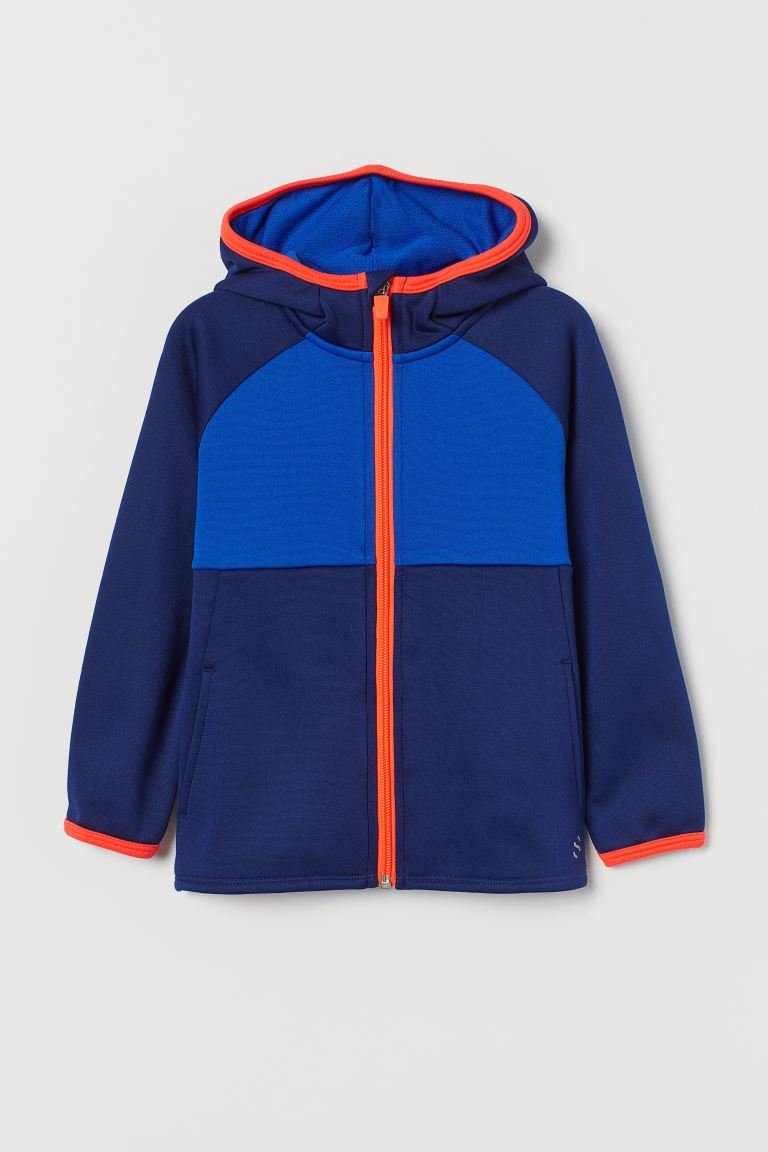 Hooded Track Jacket - Bright blue/color-block - Kids | H&M CA