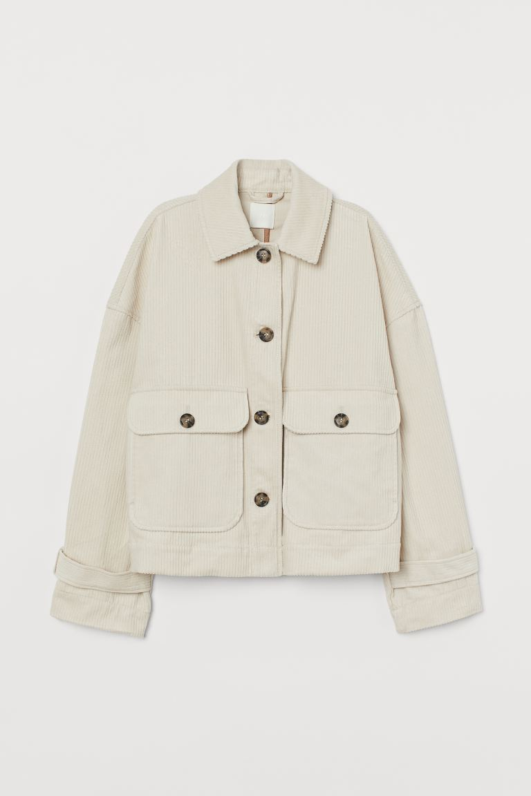 Boxy Corduroy Jacket - Light beige - Ladies | H&M US