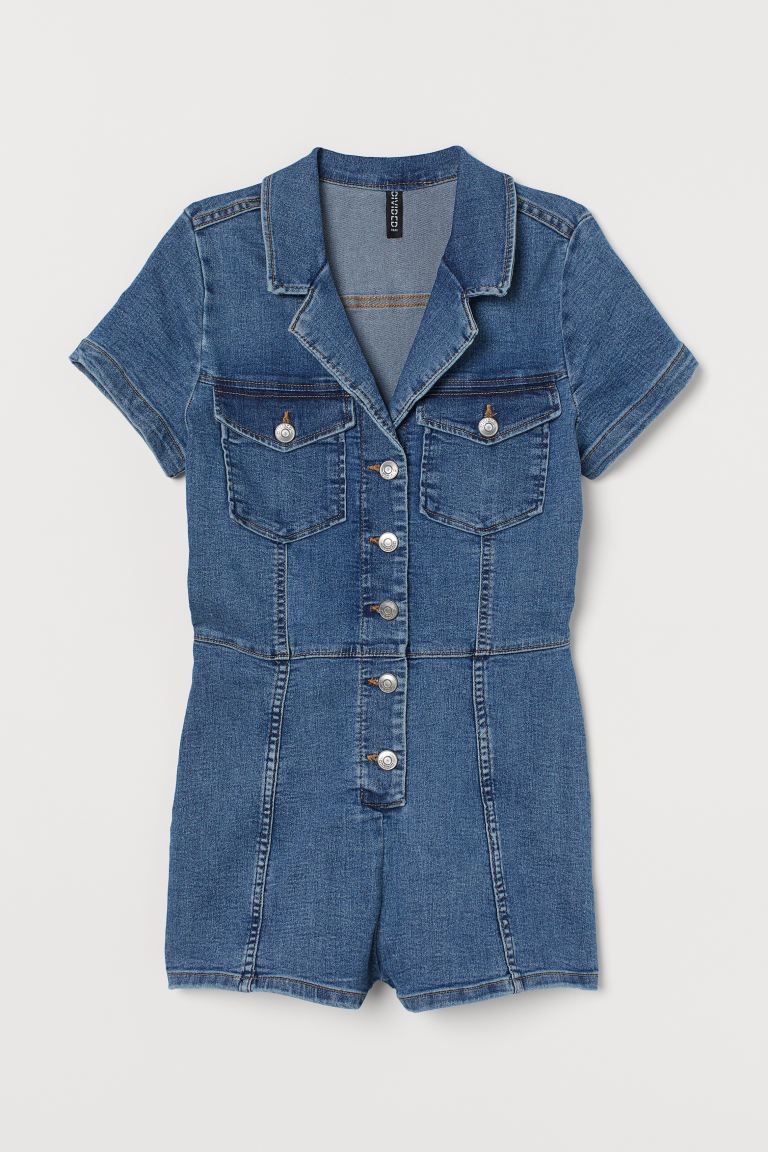 Denim playsuit - Denim blue - Ladies | H&M GB