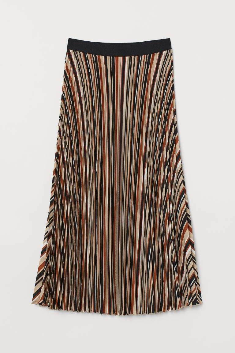 Pleated Skirt - Brown/striped - Ladies | H&M US