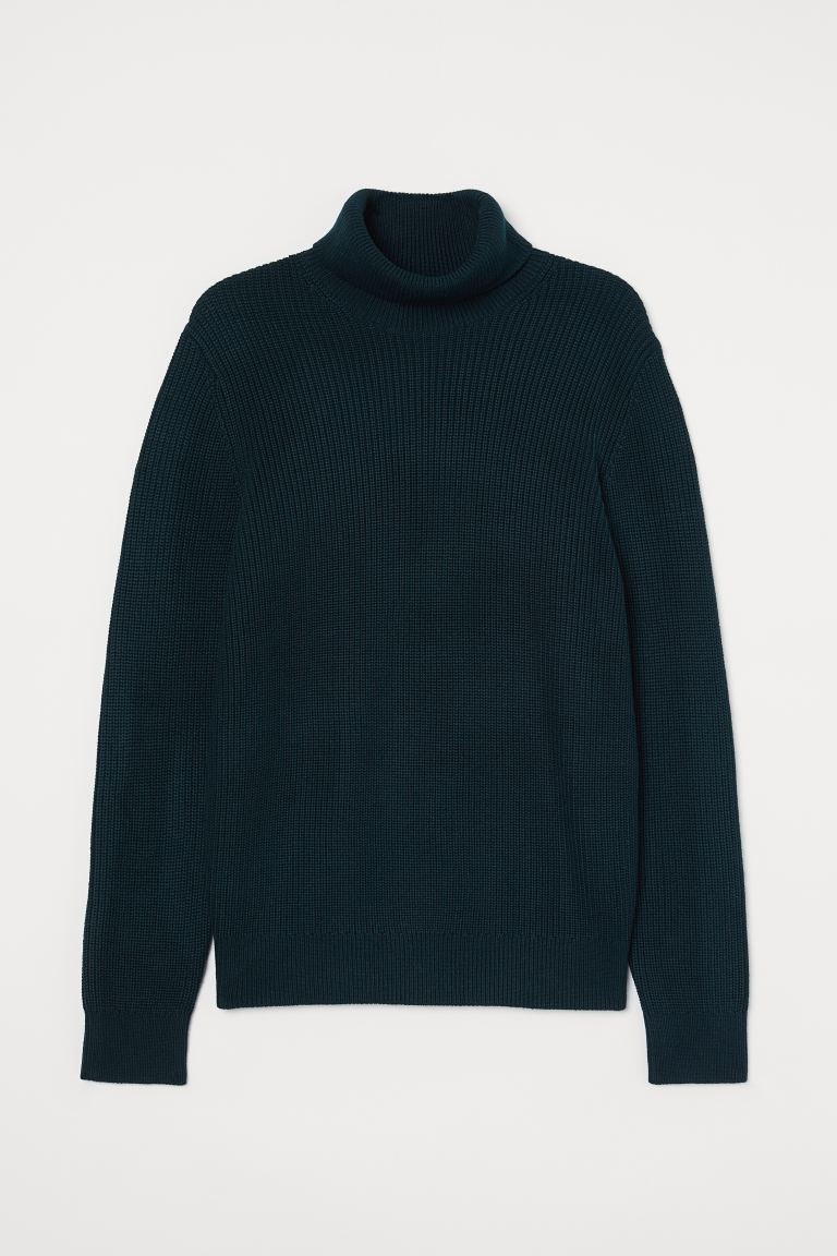 Pullover a coste a collo alto - Verde scuro - UOMO | H&M IT