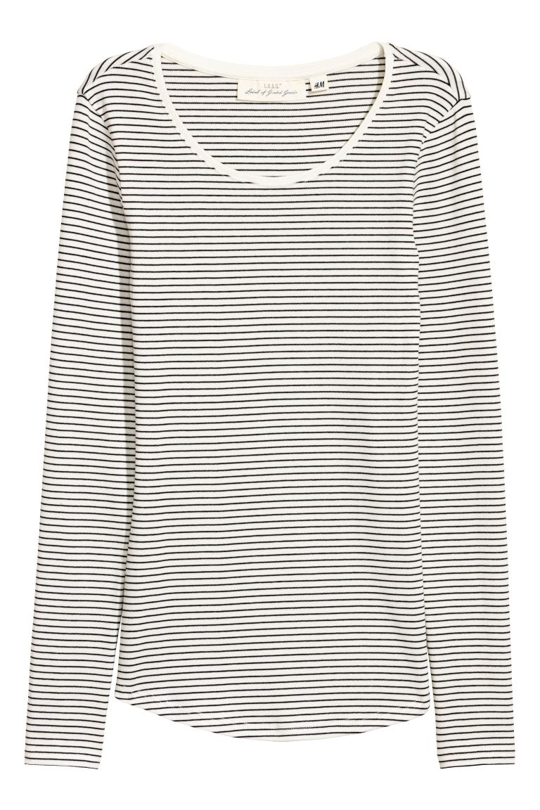 Long-sleeved jersey top - Natural white/Grey striped - Ladies | H&M GB