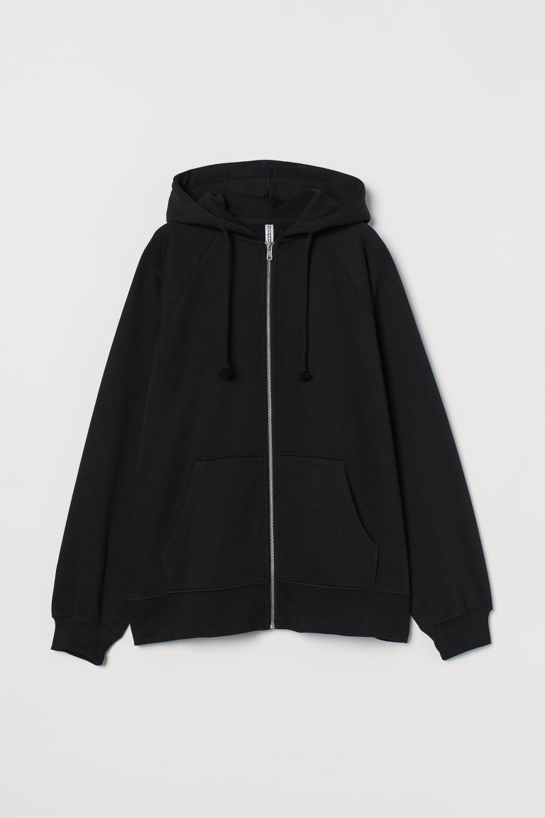 Oversized zip-through hoodie - Black - Ladies | H&M GB