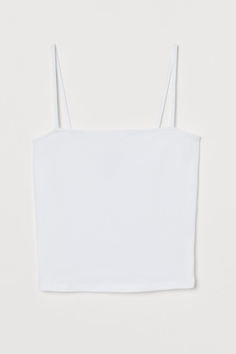 Cropped jersey strappy top - White - Ladies | H&M