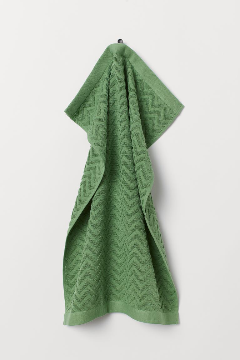 Jacquard-patterned Hand Towel - Green - Home All | H&M US