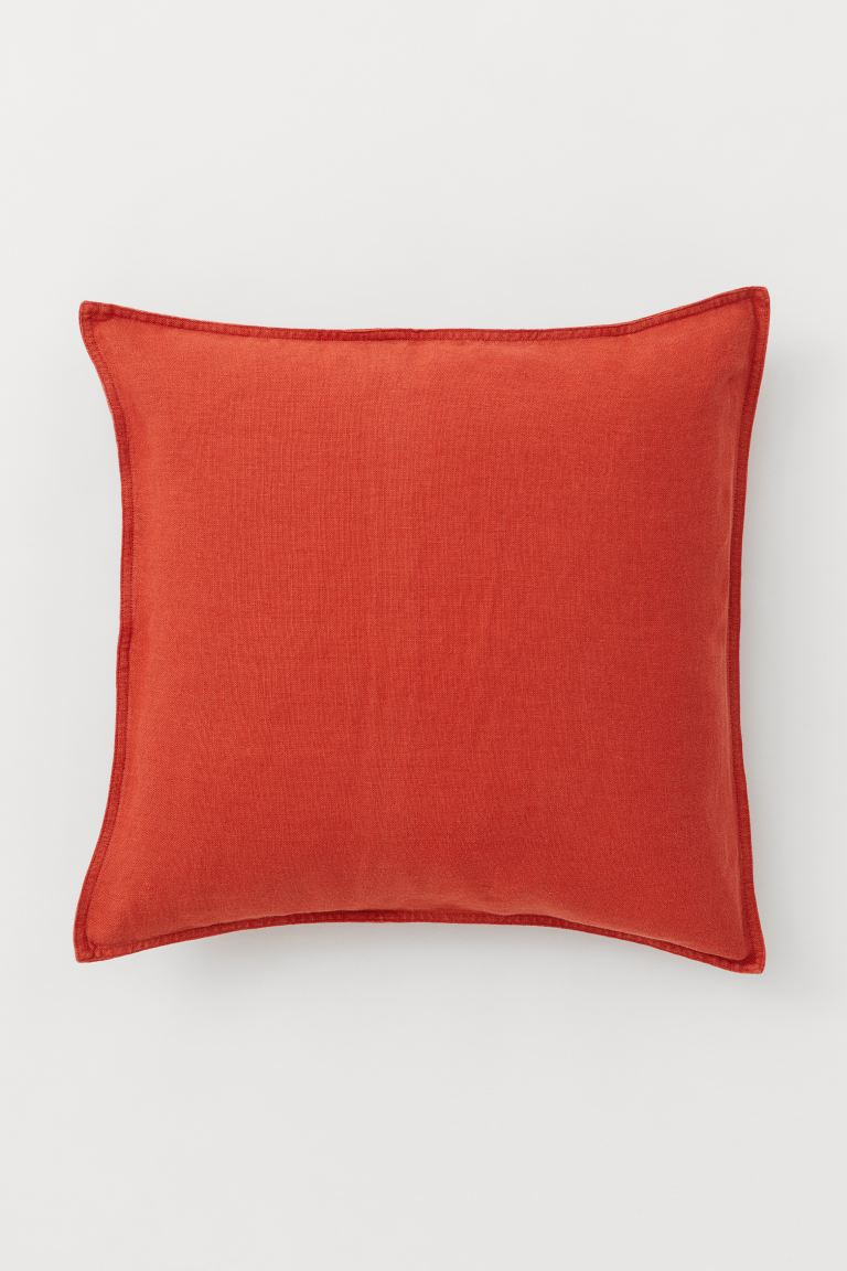 Washed Linen Cushion Cover - Dark orange - Home All | H&M US