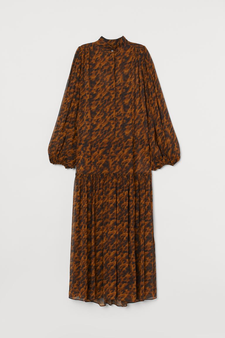 Silk Blend Chiffon Dress - Brown/Tortoiseshell pattern - Ladies | H&M AU