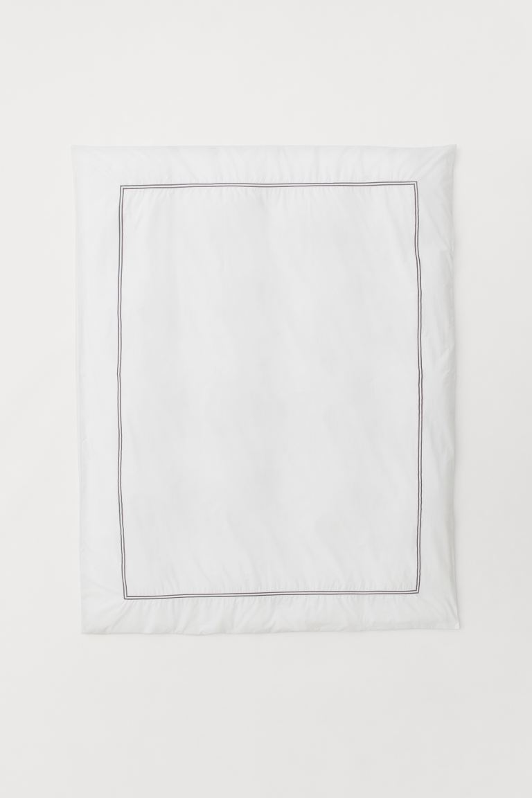 Cotton percale duvet cover - White/Dark grey - Home All | H&M GB