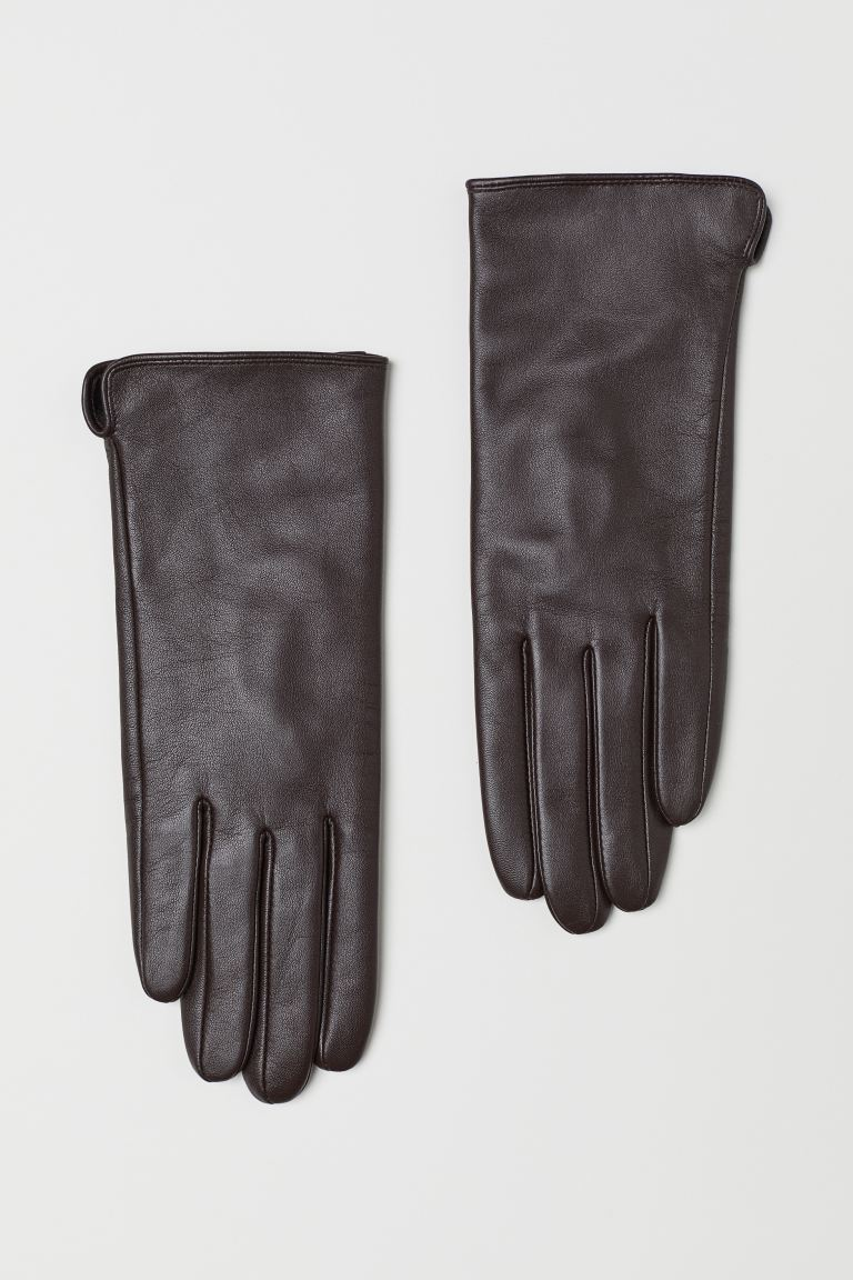 Leather gloves - Dark brown - Ladies | H&M GB