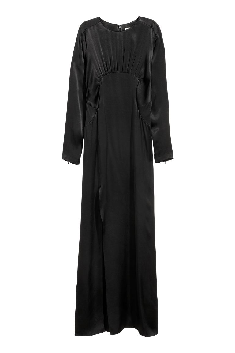 Long dress with a slit - Black - Ladies | H&M GB