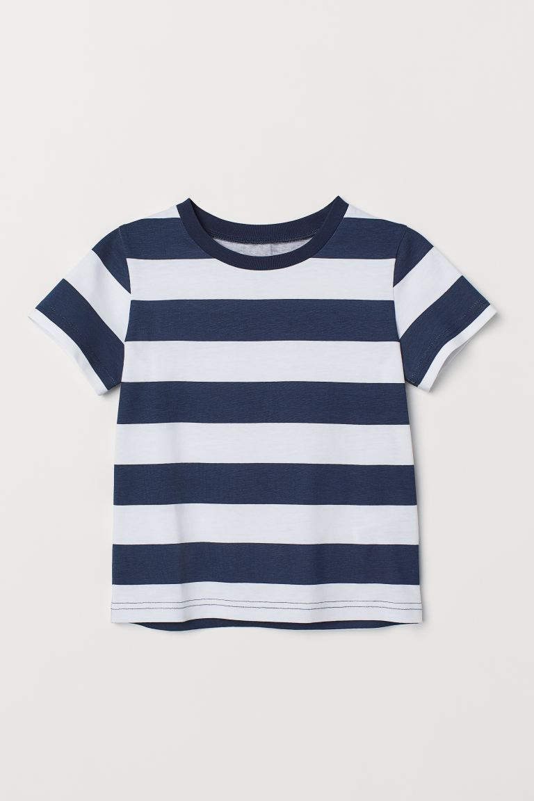 Cotton T-shirt - White/Blue striped - Kids | H&M IN