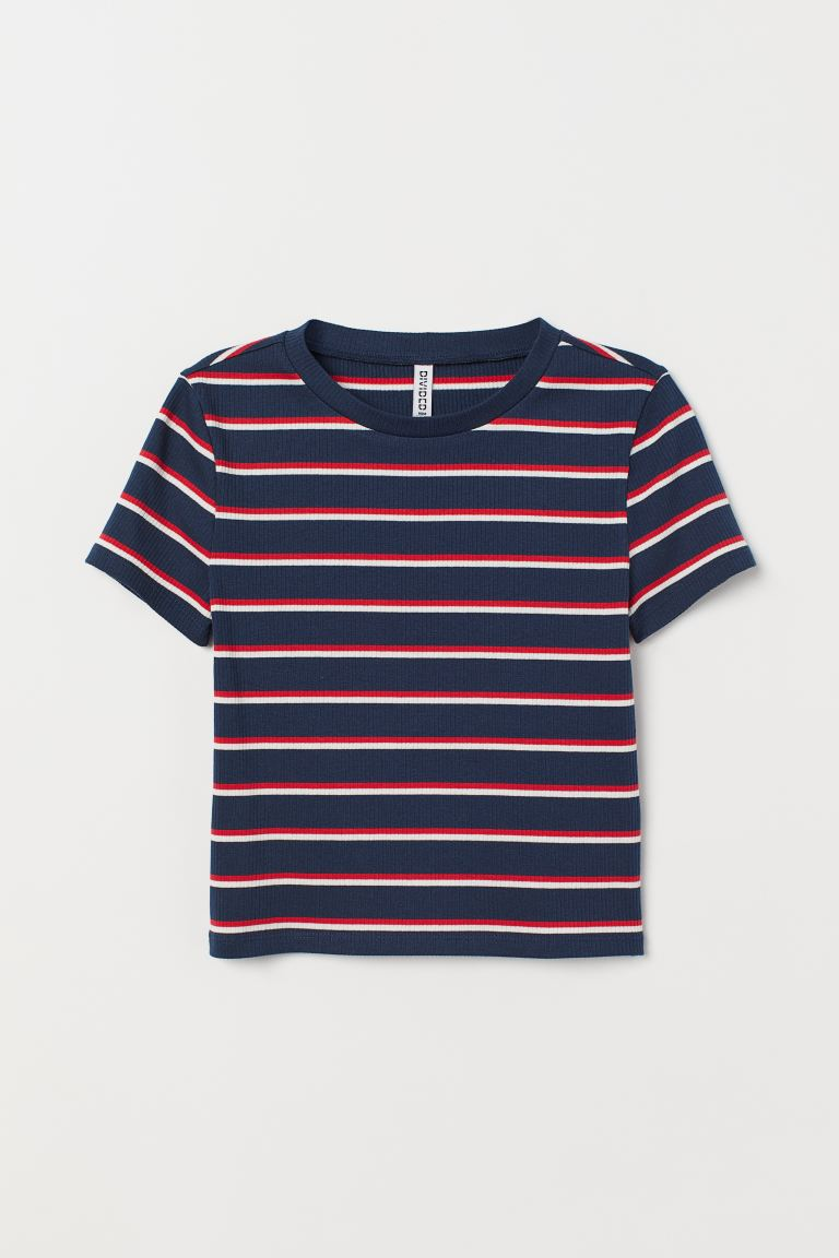 Ribbed top - Blue/Red striped - Ladies | H&M