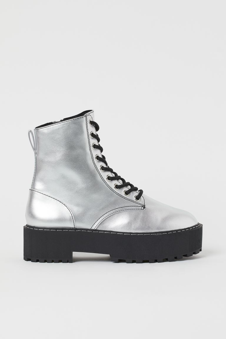 Platform Boots - Silver-colored - Ladies | H&M US
