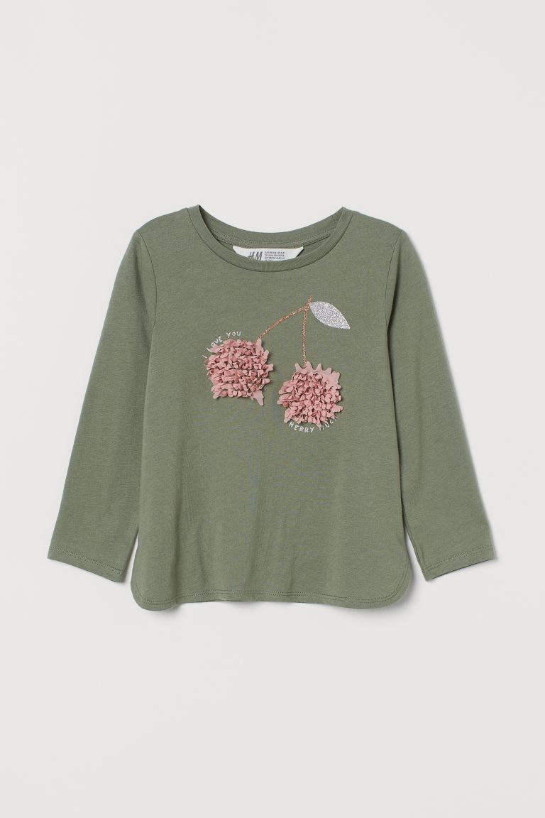 Design-front Jersey Top - Khaki green/cherries - Kids | H&M US