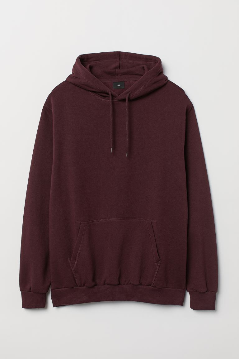 Relaxed Fit Hoodie - Burgundy - Men | H&M