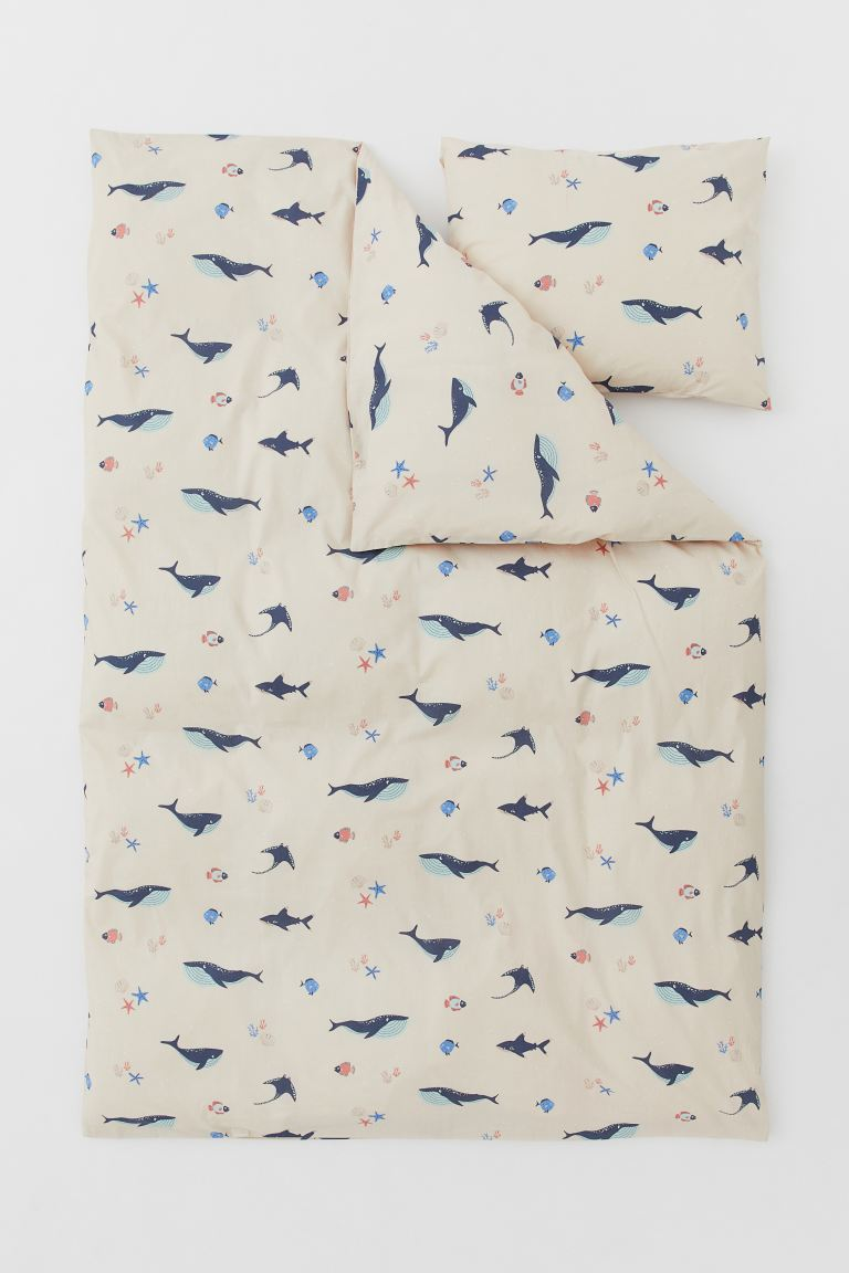Patterned Duvet Cover Set - Light beige/whales - Home All | H&M US
