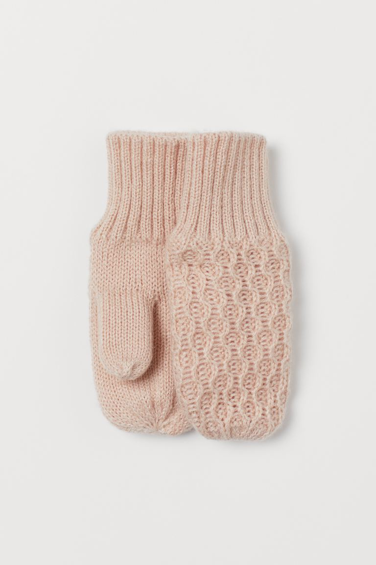 Knitted mittens - Light powder pink - Kids | H&M GB