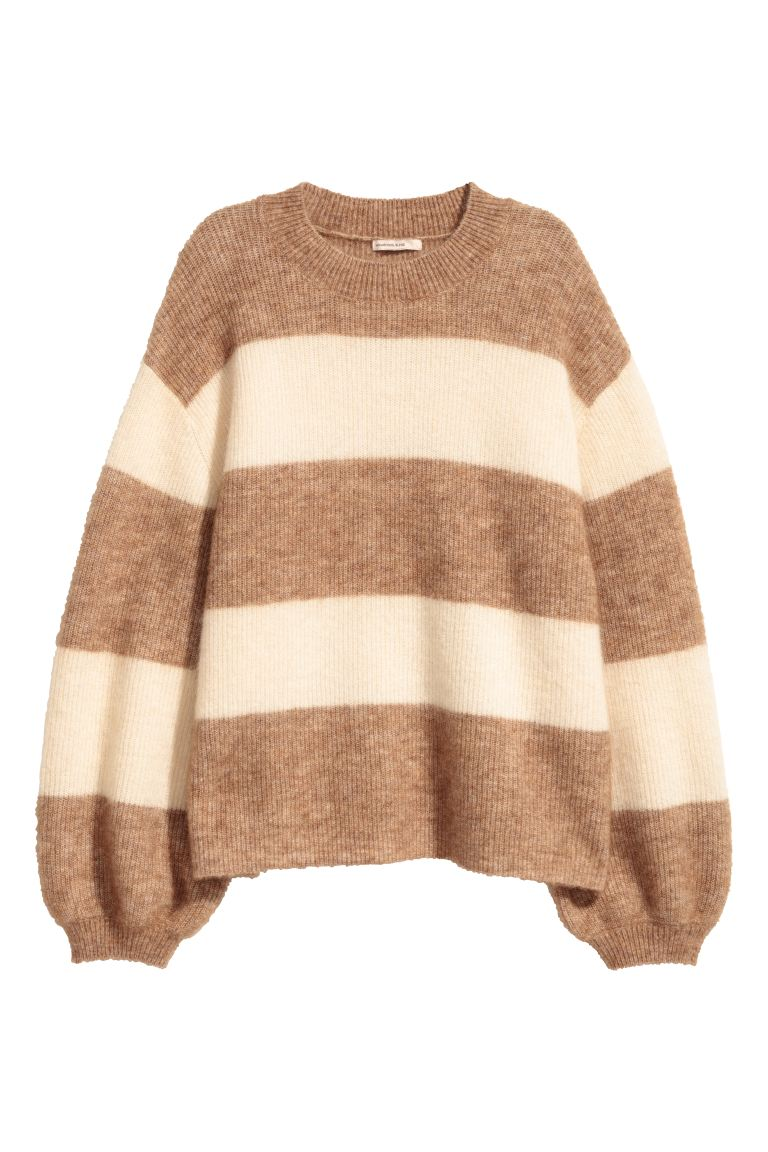Knitted mohair-blend jumper - Beige/Striped - Ladies | H&M GB