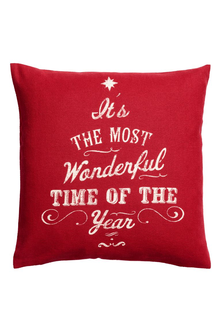 Christmas-print cushion cover - Dark red - Home All | H&M GB