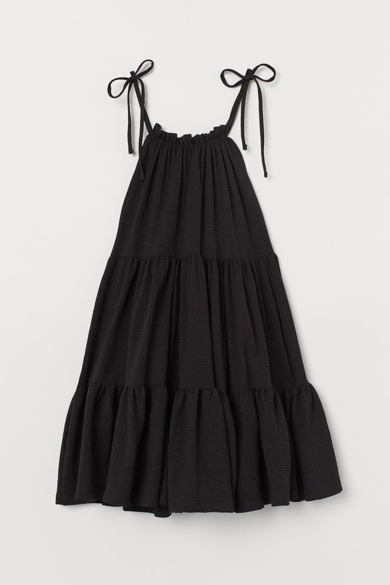 Wide-cut Tiered Dress - Black - Ladies | H&M US