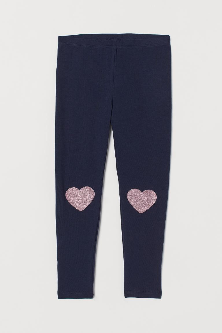 Leggings - Dark blue/hearts - Kids | H&M US