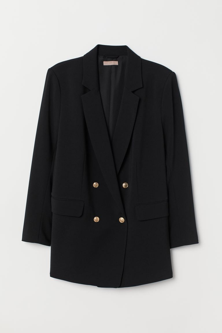 H&M+ Double-breasted jacket - Black - Ladies | H&M GB
