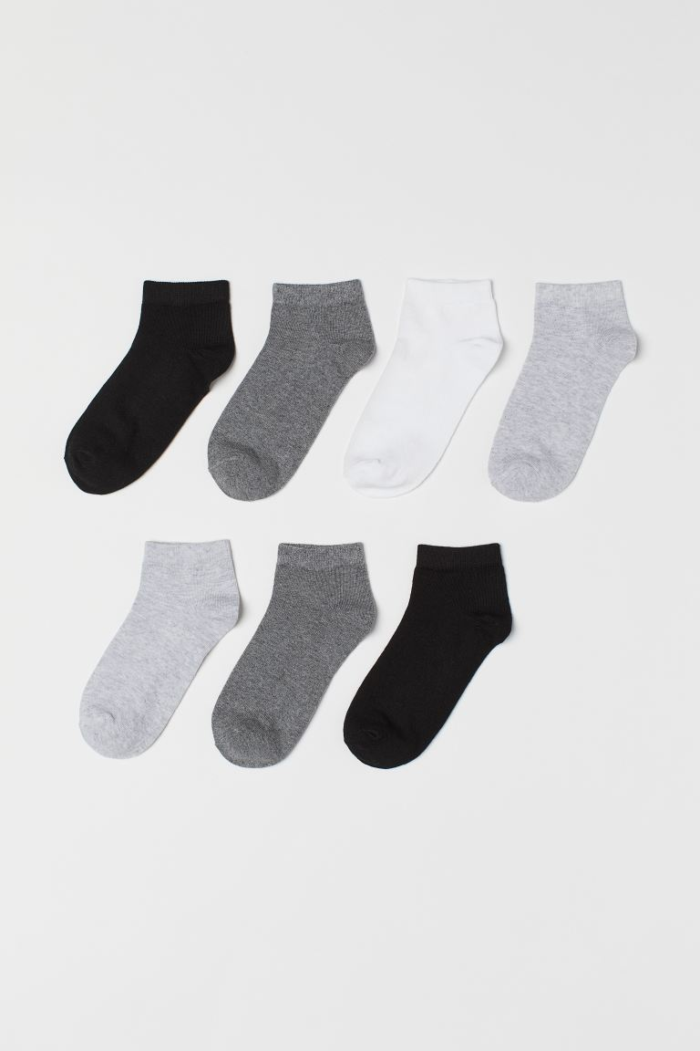 7-pack Ankle Socks - Gray melange - Kids | H&M CA