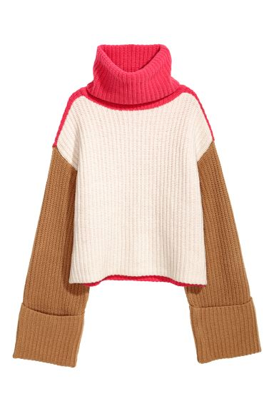 Pull col roulé ample - Blanc/rose/camel - FEMME | H&M CH