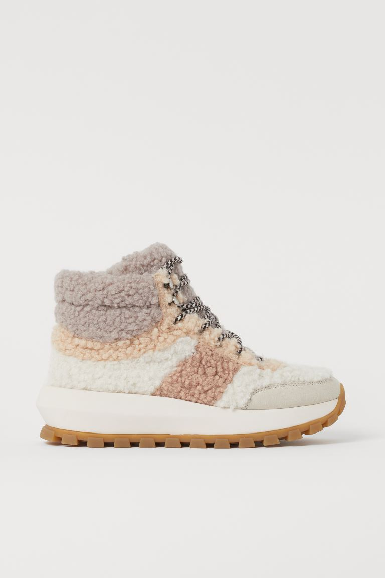 Faux Shearling High Tops - Light beige/color-block - Ladies | H&M US