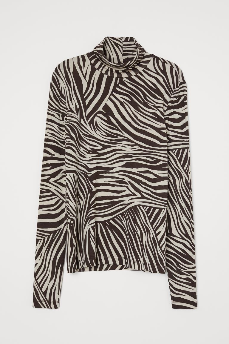 Modal Turtleneck Top - Brown/zebra print - Ladies | H&M US