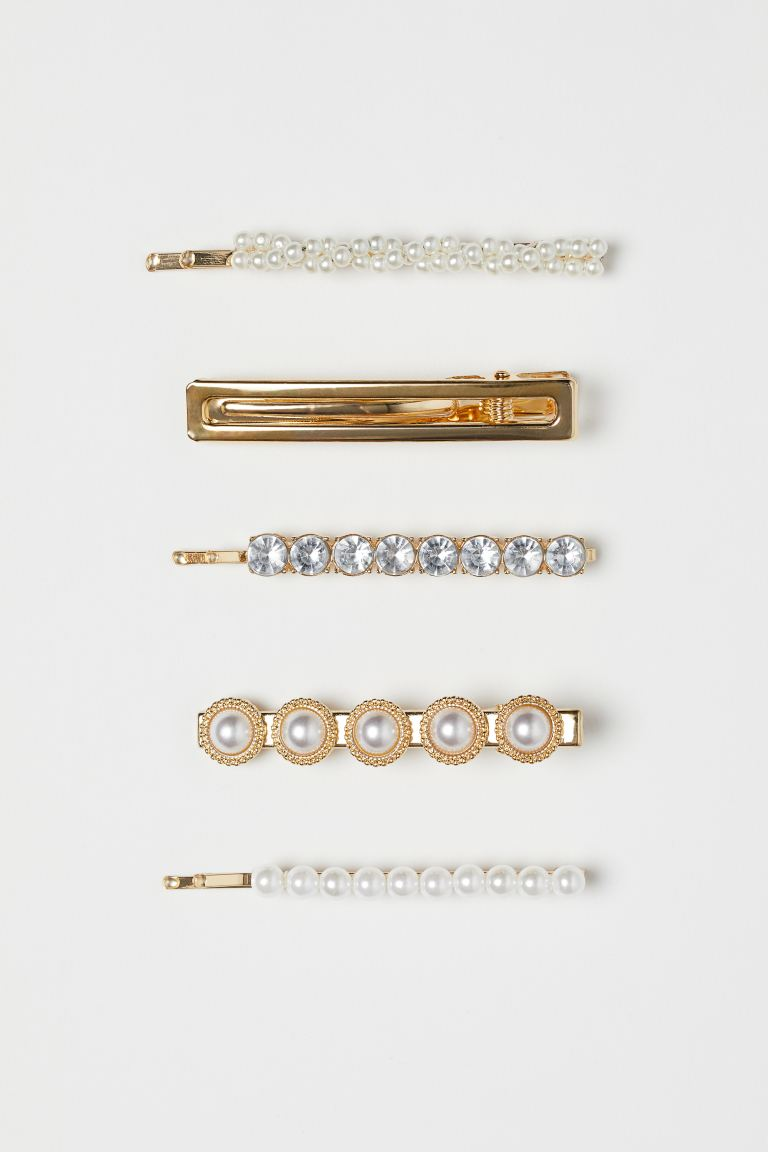 5-pack hair clips - Gold-coloured/White - Ladies | H&M GB