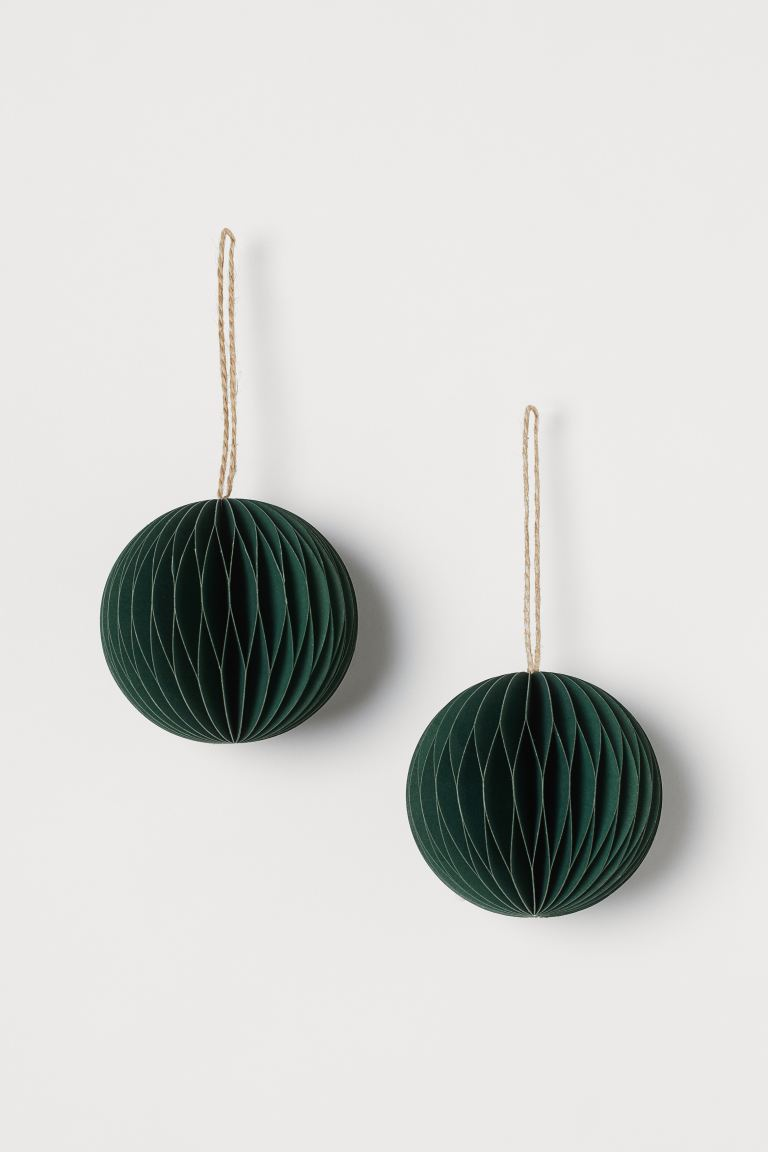 2-pack Christmas tree baubles - Dark green - Home All | H&M GB