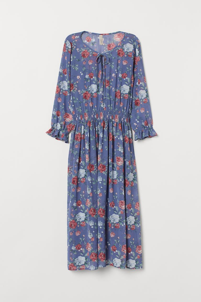 Patterned dress - Blue/Floral - Ladies | H&M GB