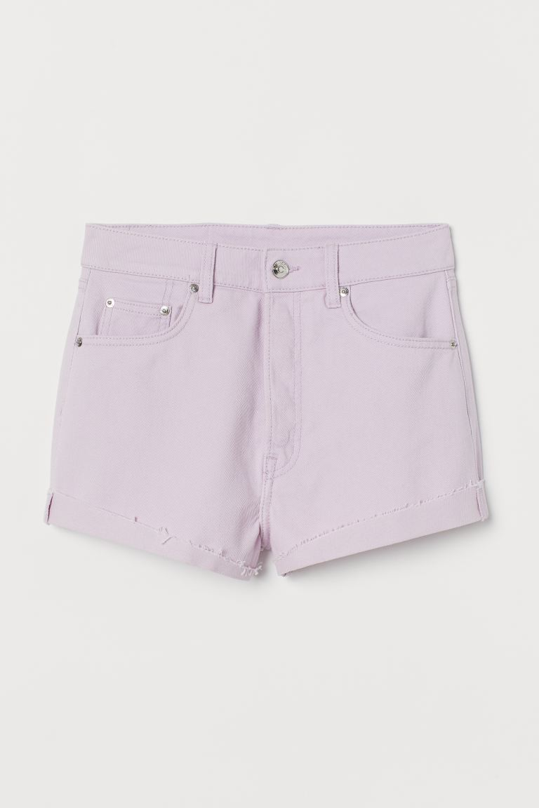Denim shorts High Waist - Light purple - Ladies | H&M