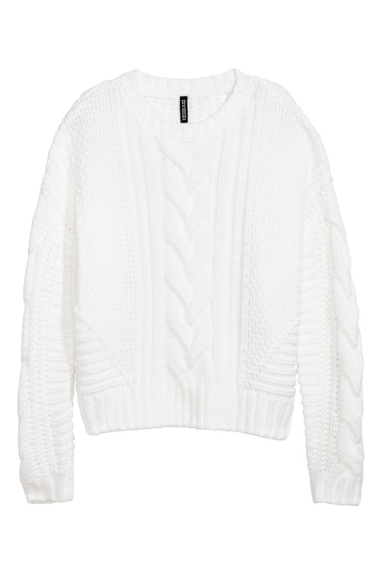 Cable-knit jumper - White - Ladies | H&M GB