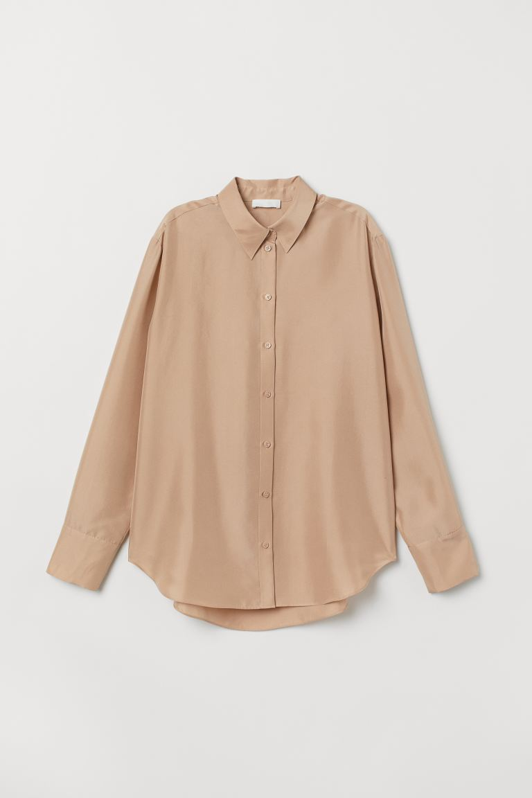 Silk shirt - Light beige - Ladies | H&M GB