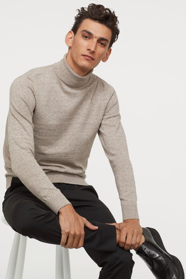 Fine-knit polo-neck jumper - Beige marl - Men | H&M IN