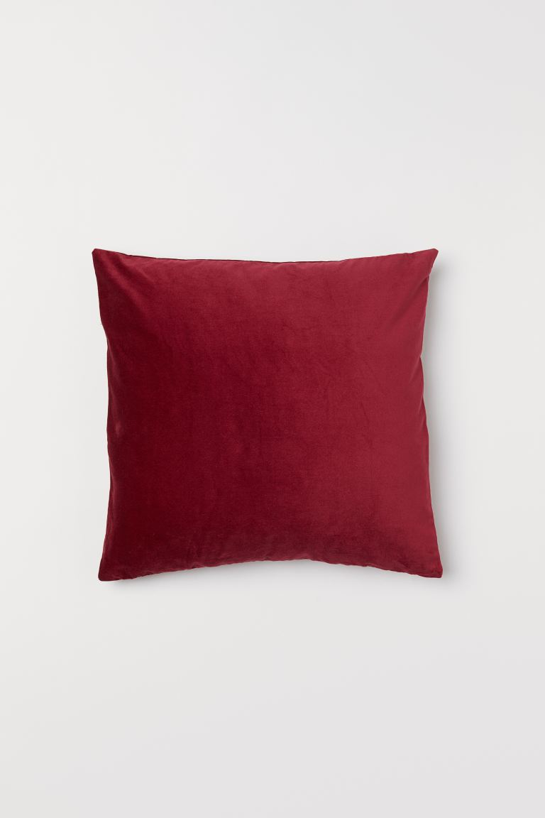 Cotton Velvet Cushion Cover - Dark red - Home All | H&M US
