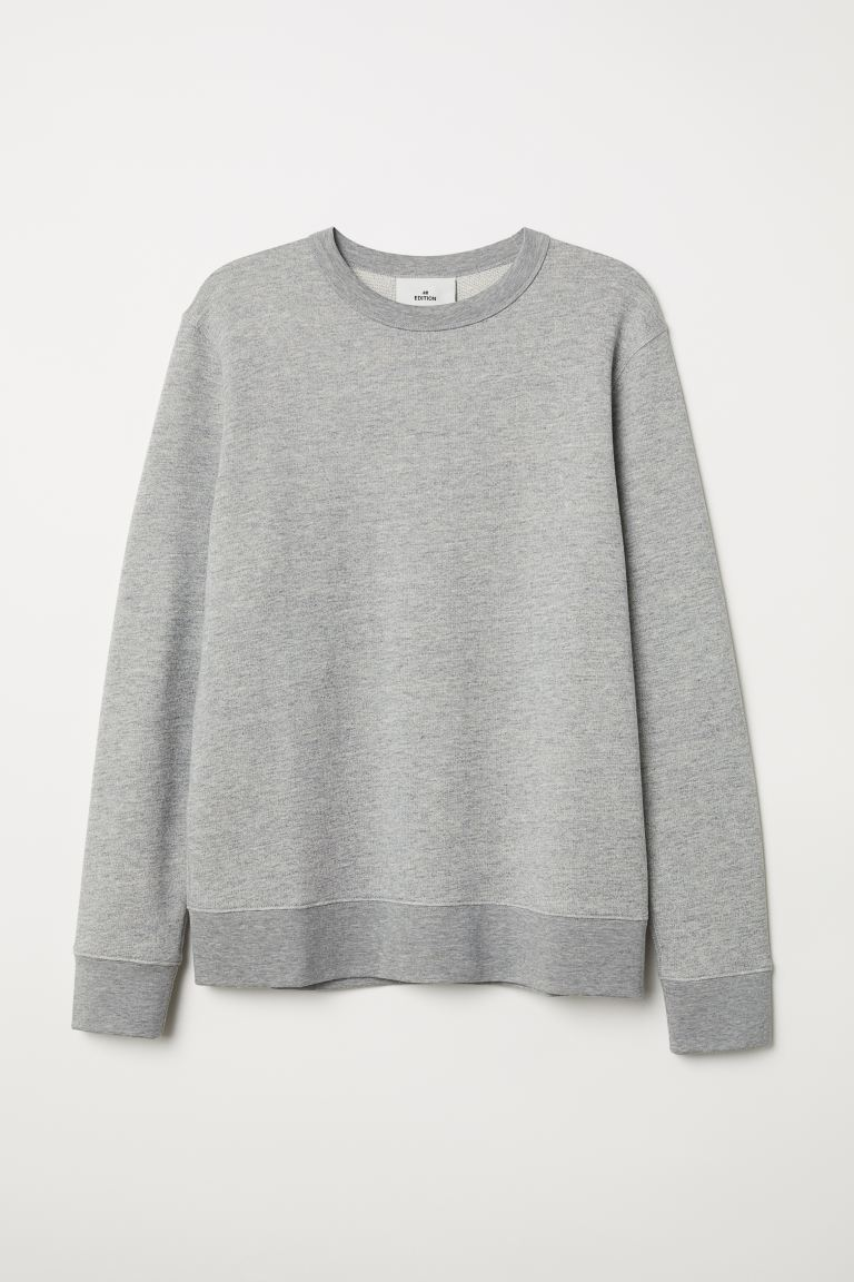 Silk-blend sweatshirt - Grey marl - Men | H&M GB