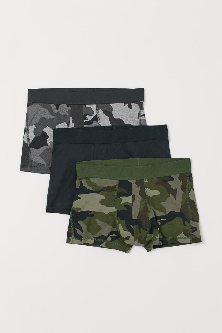3-pack short trunks - Khaki green/Patterned - Men | H&M