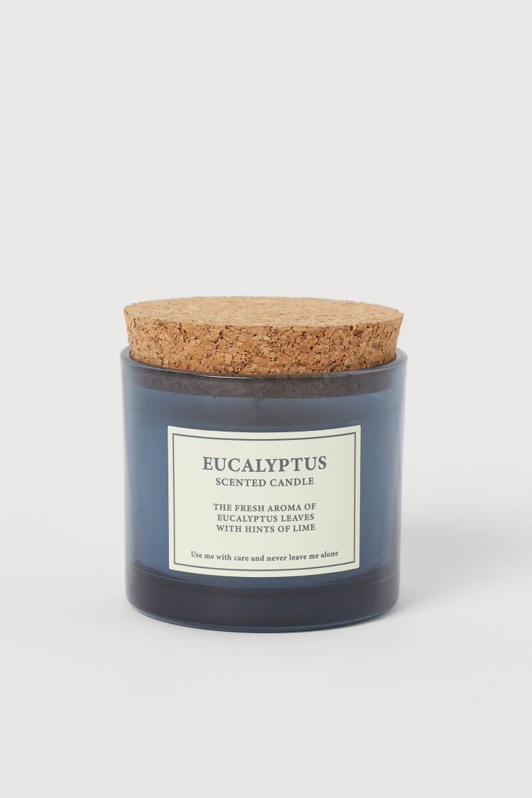Scented Candle with Cork Lid - Blue/Eucalyptus - Home All | H&M US