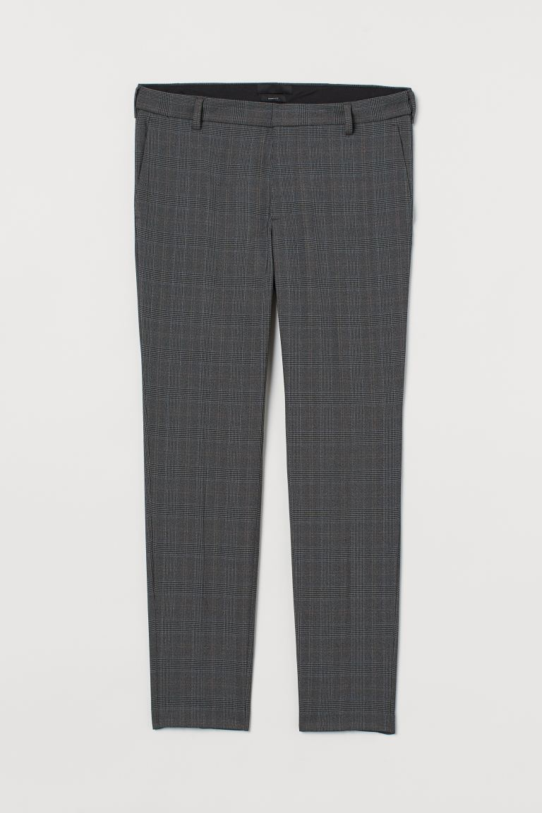 Skinny Fit Suit Pants - Dark gray/plaid - Men | H&M CA