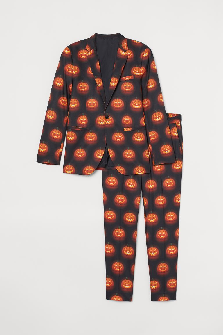 Patterned suit - Black/Pumpkin lanterns - Men | H&M GB